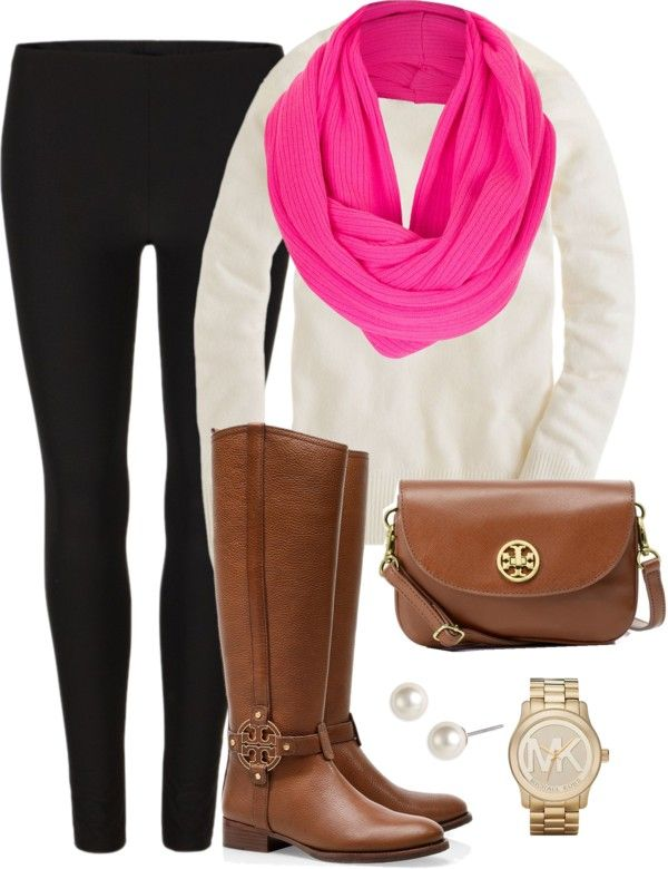 Leggings, infinity scarf, and boots! So cute and comfy!