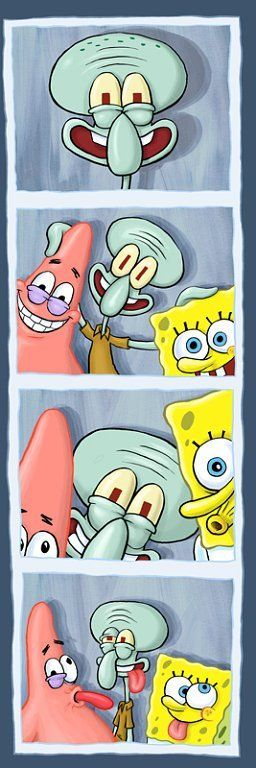 Party game: Make Squidward smile, i.e. try to make frowning kids smile/laugh