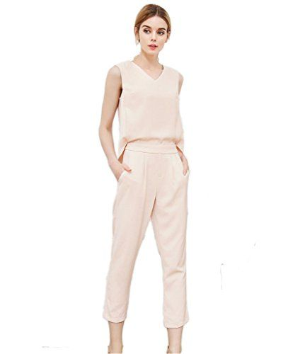 """PERSUN Women's Nude V-neck Sleeveless Back Split Cropped Jumpsuit, Medium. Asian Small/US 2-4, Asian Medium/US 6. Back zip fastening. V-neckline. Occasion: Office, Casual, cocktail, Street. We have US registered Trademark """"Persun""""."""
