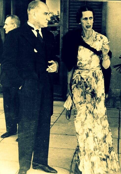 Mustafa Kemal Atatürk and Queen Consort of Sweden Louise Mountbatten (1934)