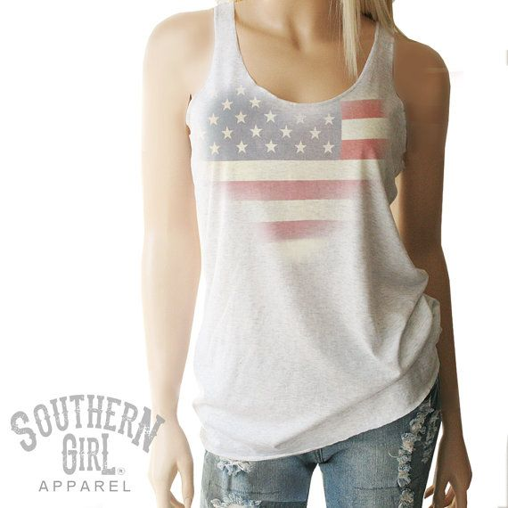 American Flag Racerback Tank. Red White & by SouthernGirlApparel