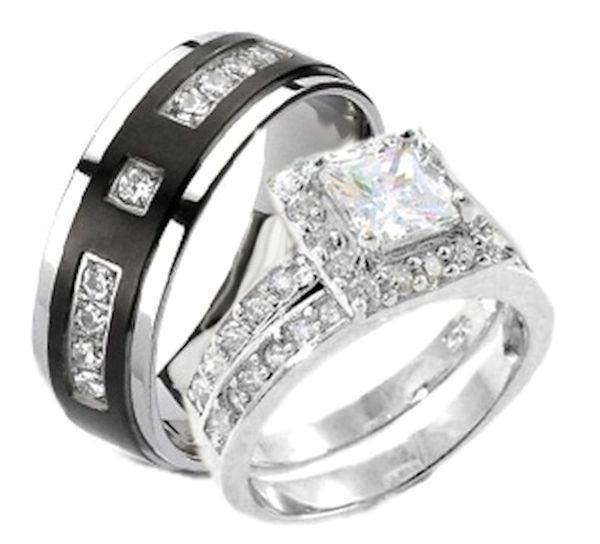 image result for harley davidson wedding rings matching - Biker Wedding Rings