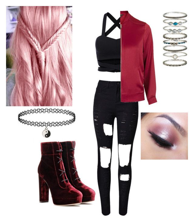 Black Pink Boombayah Dance by irisyepp on Polyvore featuring polyvore fashion style Topshop WithChic Jimmy Choo Accessorize Too Faced Cosmetics clothing