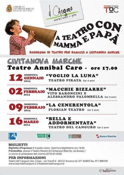 A #TEATRO CON MAMMA E PAPA':la rassegna del #TeatroRagazzi dei #TeatriDICivitanova e Teatro del Canguro inizia il 12 Gennaio!