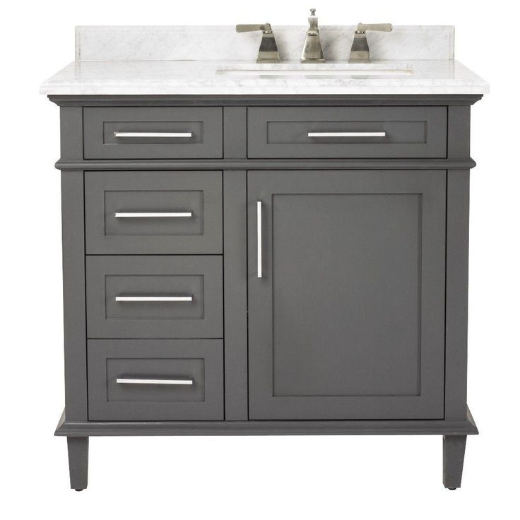 Home Decorators Collection Sonoma 36 in. Vanity in Dark Charcoal with Marble Vanity Top in Grey/White-8105100270 - The Home Depot