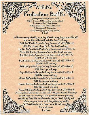 WITCH'S PROTECTION BOTTLE Book of Shadows Page BOS Pages Real Witchcraft Spell