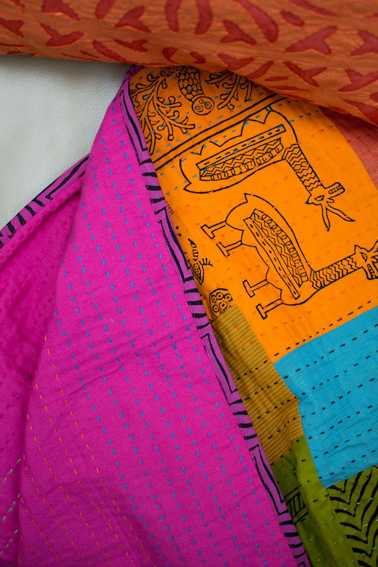 Bright & gorgeous Indian kantha quilt made by traditional artisans.