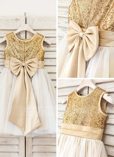 A-Line/Princess Knee-length Bow(s) Tulle Sequined Sleeveless Flower Girl Dress Flower Girl Dress