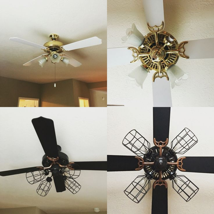 The top photos are of the awful, dated ceiling fan in my game room. The bottom are of the finished product   Blades: flat black spray paint   Arms of the blades: hammered copper spray paint  The rest: hammered black spray paint   The light cover:  something from the Home Depot