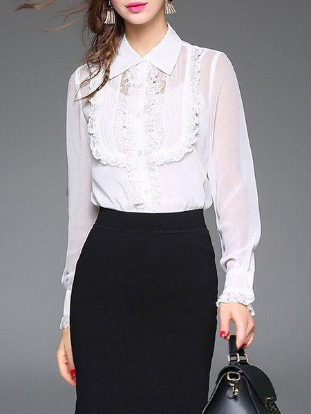 Shop Blouses - White Pierced Shirt Collar Long Sleeve Blouse online. Discover unique designers fashion at StyleWe.com.