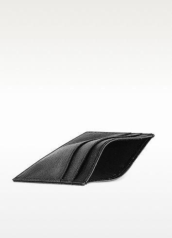 Black Saffiano Slim Credit Card Case - Aspinal of London