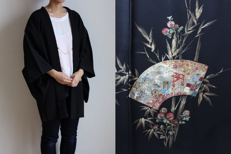 Etsy のblack kimono jacket, Japanese haori, vintage oriental clothing /741(ショップ名:LitreJapan)