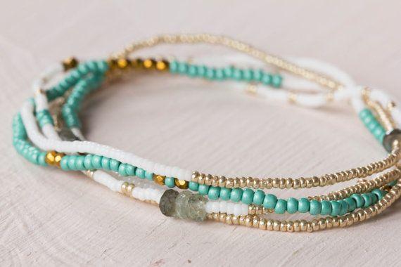 Beaded Wrap Bracelet, Seed Bead Jewelry, Beaded Stretch Bracelet, Turquoise & Gold, Layering Necklace, Claspless Bracelet