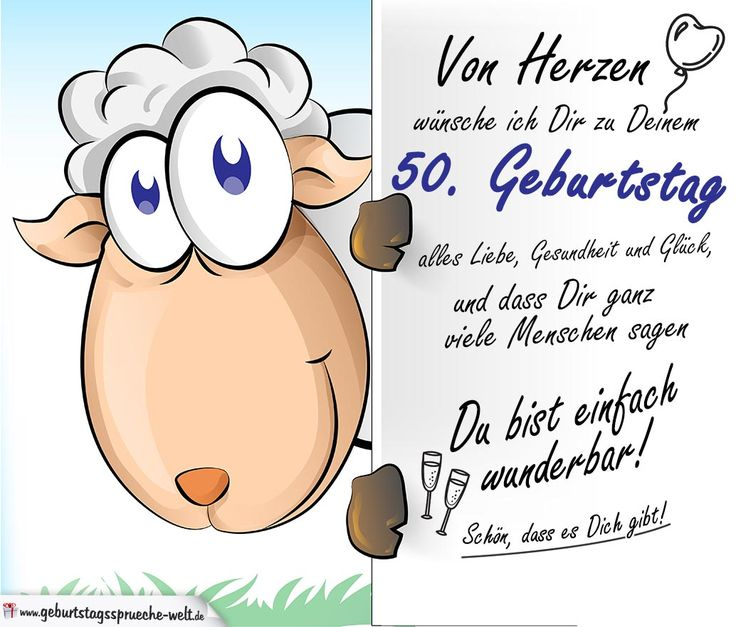 Geburtstagskarte mit Schaf - 50. Geburtstag - Geburtstagssprüche-Welt