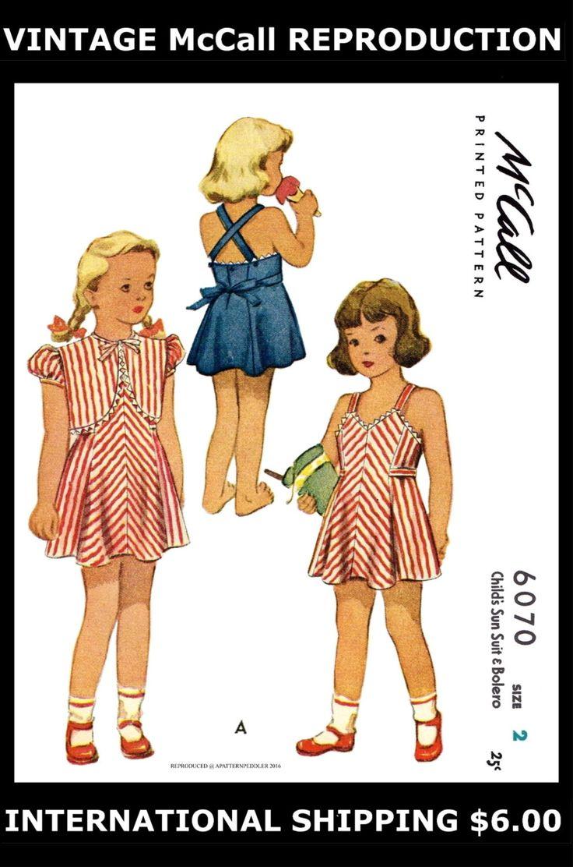 Ragazza ragazza Toddler Sun abito e Bolero Abito Frock PlaySuit McCall #6070 1940 ' s Kids bambino tessuto cucito modello riproduzione / copia ~ 2 ~ 3 ~ 4 ~ di APATTERNPEDDLER su Etsy https://www.etsy.com/it/listing/487822992/ragazza-ragazza-toddler-sun-abito-e