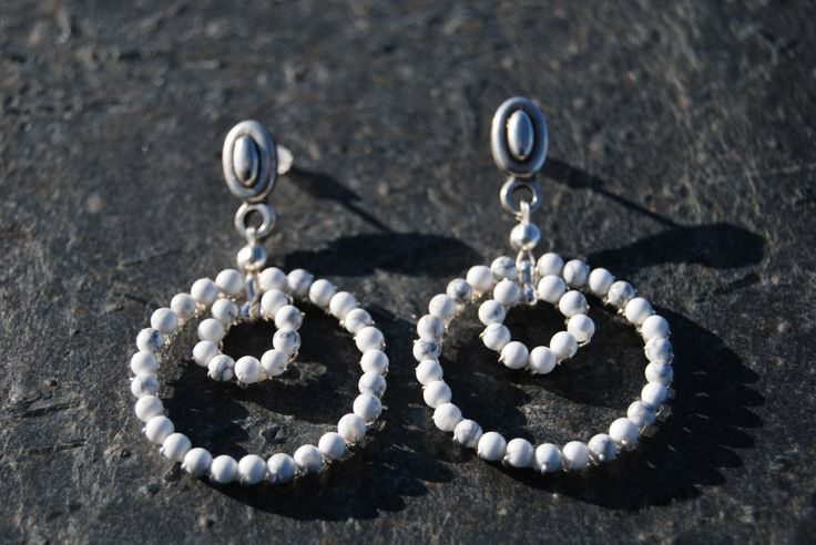 Silver and howlite white earrings by NorthernlightsNO on Etsy