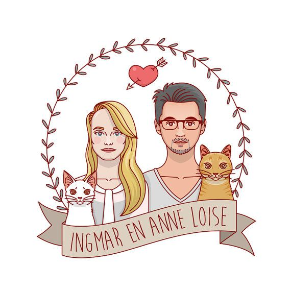 Custom portraits with pets. Couple portrait with by GoatLucky
