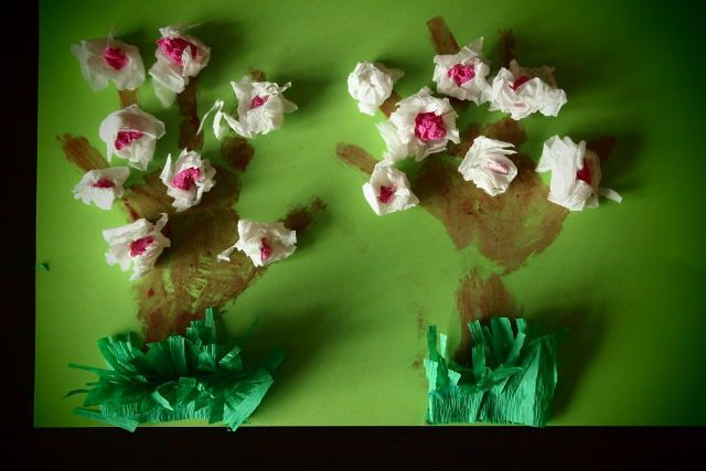 Strefa Dzieci - Kwitnące drzewa owocowe z bibuły