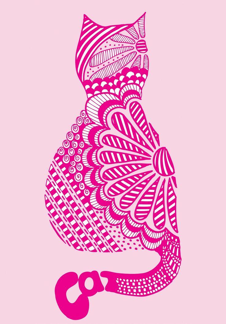 pinkshoesart: Zendoodle cat print