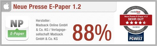 """App-Test: Neue Presse E-Paper - Die iPad-App """"Neue Presse E-Paper"""" bietet die Möglichkeit, die Zeitung aus Hannover in digitaler Form zu lesen. Zusätzlich zur Hauptausgabe sind alle Ressorts sowie zahlreiche Lokalteile einzeln ladbar. Der Nutzer bezieht die Zeitung entweder über ein Abonnement oder kauft eine Einzelausgabe. Weitere Infos auf unserem Portal: http://www.apptesting.de/"""