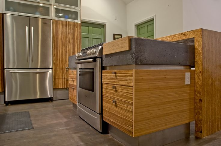 Brindle strand bamboo cabinets with rough tile backsplash - Seattle kitchen appliances ...