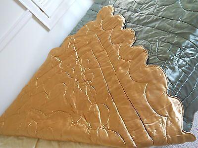 Vtg 2 Tone Satin Bedspread Soft Teal Tan Comforter 40's Hollywood Glamour Twin | eBay