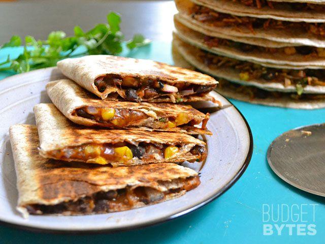 Hearty Black Bean Quesadillas- black beans, corn, onion, garlic, cilantro, shredded cheese, taco seasoning, tortilla