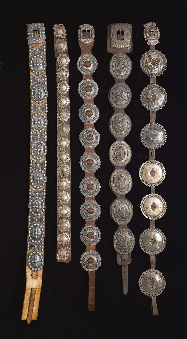 Group of Five Navajo Silver Concho Belts, One With Turquoise Inlay | Lot | Sotheby's