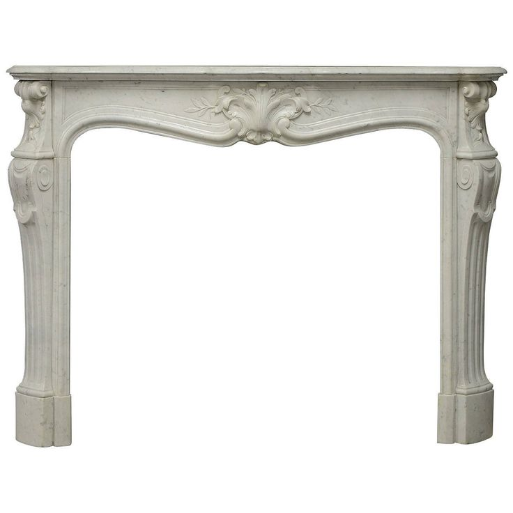 Very Elegant Antique White Marble French Louis XV Fireplace Mantel 1