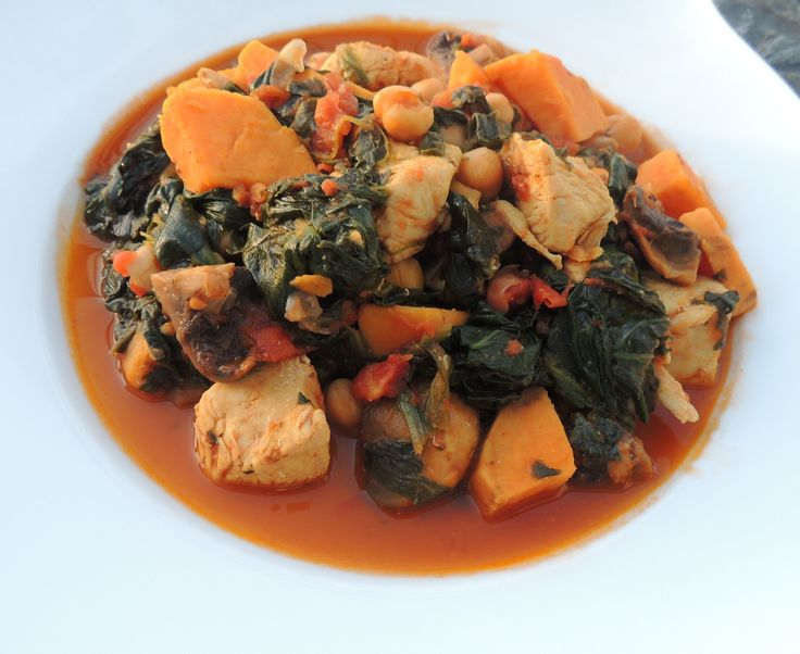 Chicken, chickpea and sweet potato stew @ http://saltandpepperpots.wordpress.com/2013/04/21/chicken-chickpea-and-sweet-potato-stew/
