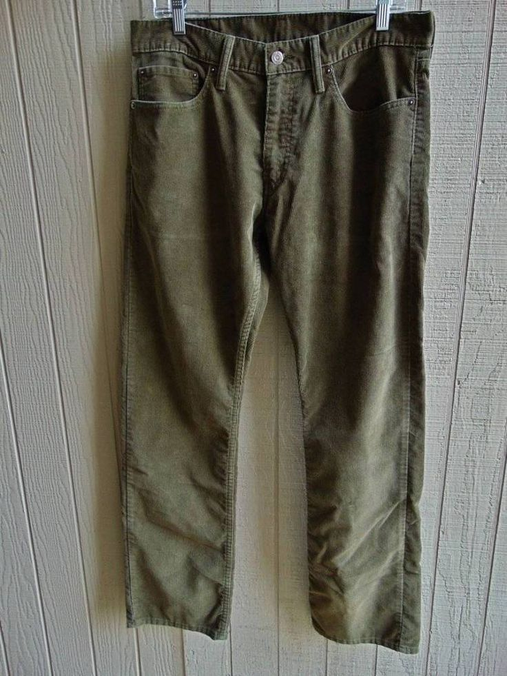 Levi's 514 Men's Corduroy 34x32 Pre-Owned Very Good Condition Olive #Levis #514