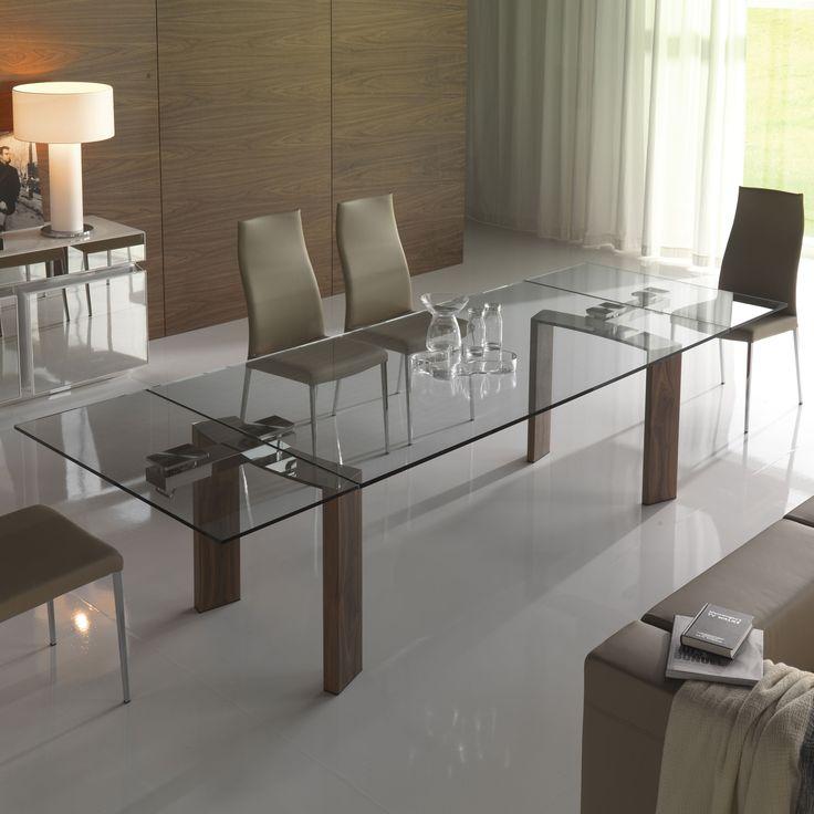 Wooden table and crystal clear mod. Daytona, Cattelan. // Mesa de madera y cristal claro mod. Daytona, Cattelan. // Tavolo in legno e cristallo trasparente mod. Daytona, Cattelan. #table #mesa #tavolo #wood #madera #legno #crystal #cristal #cristallo #cattelan