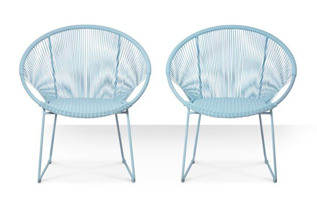 Product: Coco outdoor chairs in ice blue, £349 for set of two. SWOONEDITIONS.COM