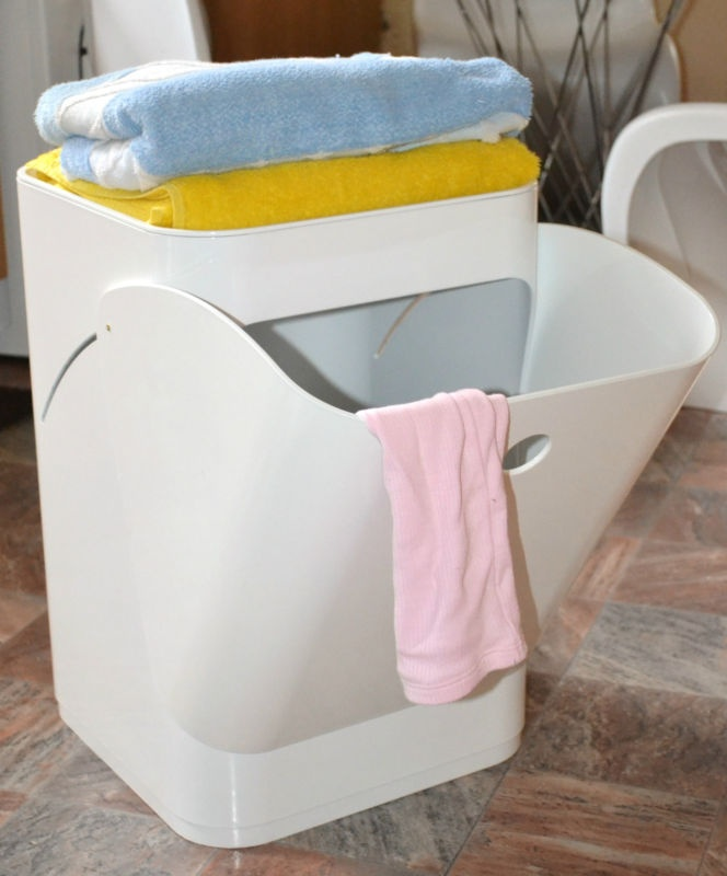 White Componibili Laundry Basket Bathroom Kitchen Bedroom