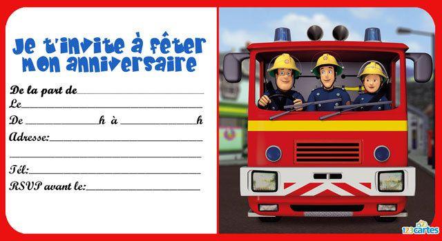 2 Invitations anniversaire de Sam le pompier à imprimer gratuitement. Une série…