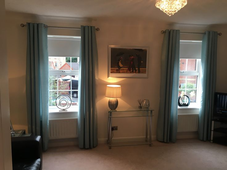 Duck egg curtains, timeless dulux walls, jack vettriano print