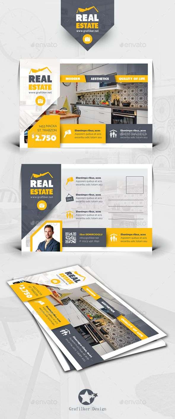 Real Estate Postcard Template PSD #design Download: http://graphicriver.net/item/real-estate-postcard-templates/13632061?ref=ksioks
