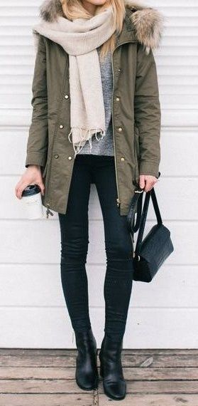 summer outfits Khaki Jacket + Grey Top