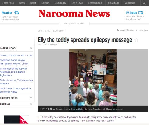 Elly the Ted-E-Bear spreads epilepsy awareness