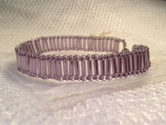 Beaded bracelet - purple. Handmade from quality Toho beads and bugles. Includes cream organza gift bag. on Etsy, $14.95 AUD