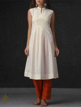 Cream Pintuck Cotton Mul Kurta by Jaypore