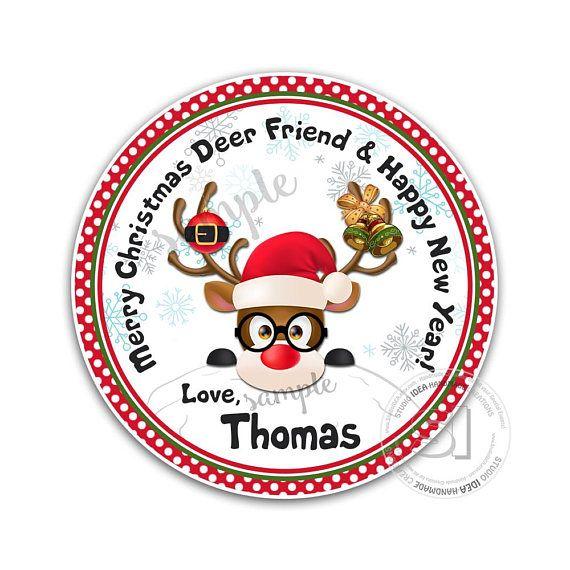 Custom Cute Deer Christmas 2.5 PRINTABLE Circle