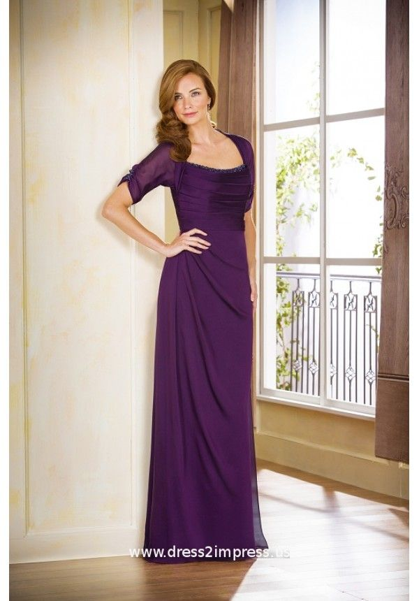 Comfort and elegance are paired together in this stunning Jade Tiffany  Chiffon mother-of-the-bride dress.
