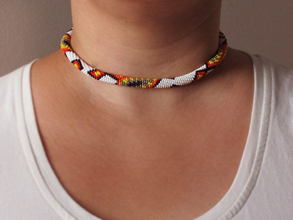 Seed Bead Crochet Necklace Ethnic Jewelry by GlassHouseLampwork