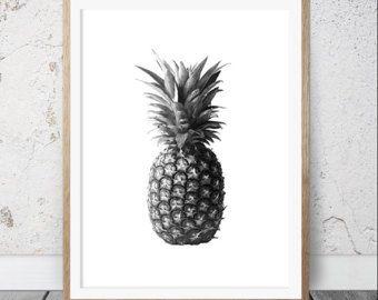 Ananas-Print tropische Früchte Wandkunst Küche Dekor von LILAxLOLA