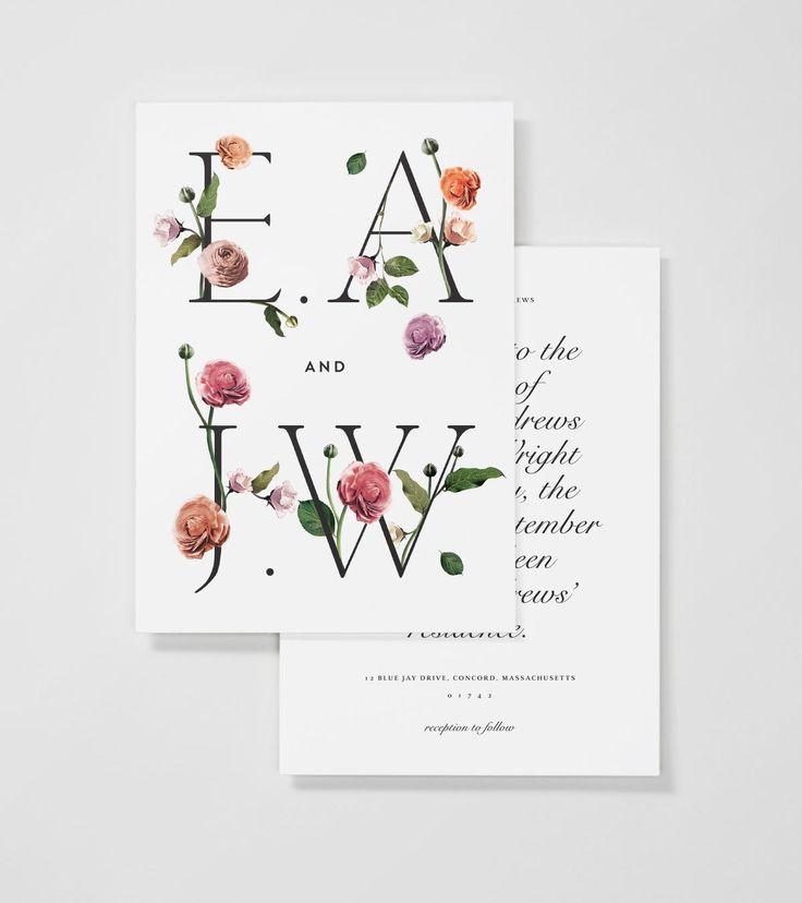 floral typography wedding stationary 15 Super Chic Minimalist Wedding Invites via Brit + Co