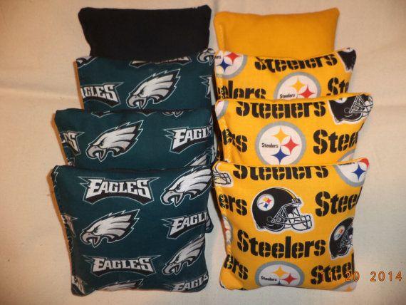 Cornhole bags Pittsburgh Steelers Eagles corn hole bean bags 8