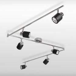 BENTON Plafonnier Lustre Suspension 3 x Rail / 6 spot GU10, Contemporain. Chrome Polisl & Noir Mat, Orientable, GU10 ampoules GRATUITE
