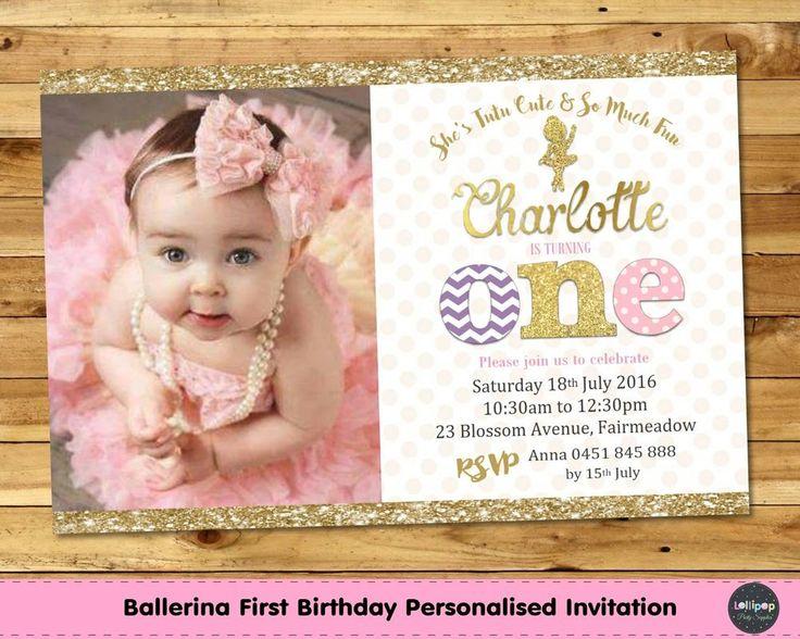 Ballerina 1st Birthday Invitation - Gold and Pink - Printed or Digital - Ship Worldwide!  Visit www.lollipoppartysupplies.com.au