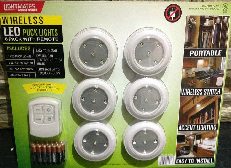 6pk wireless led puck lights w remote puck lights led and lights. Black Bedroom Furniture Sets. Home Design Ideas